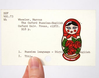 Russian Doll on Library Card - Print of my painting of a Russian doll on card for the Oxford Russian-English Dictionary