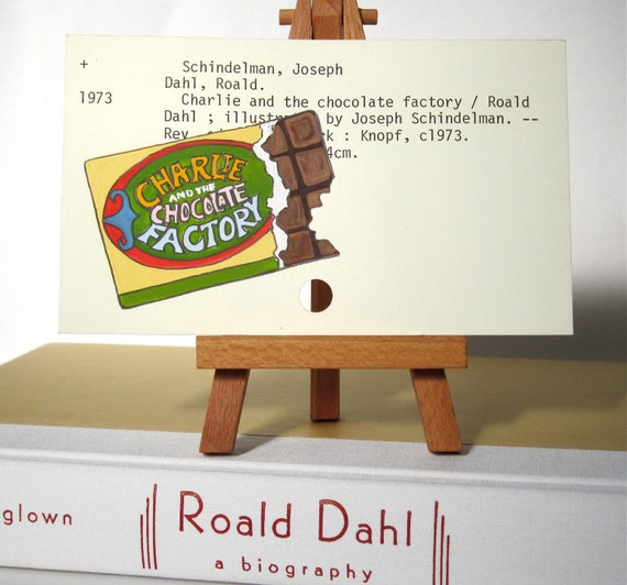 Roald Dahl Biography and Print of Charlie and the Chocolate Factory Painting on Library Card
