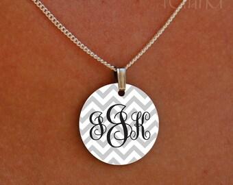 enameled chevron elegant monogram necklace
