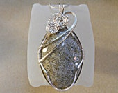 Wire Wrapped Pendant Grey Flower Fossil Coral