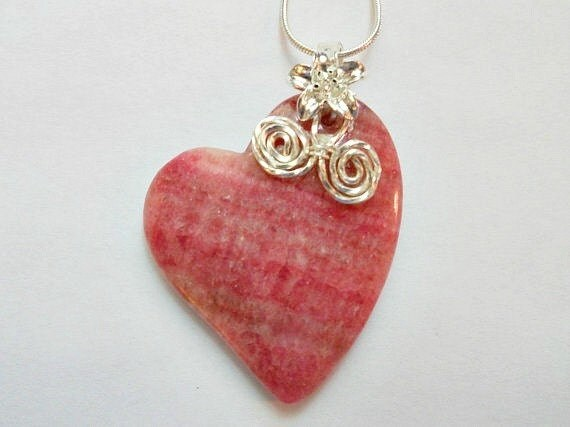 Wire Wrapped Heart Pendant, Rhodochrosite Jewelry, Handmade
