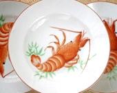 RESERVED for jr: Vintage Japan Bowls Shrimp Prawn STCO Honolulu Set of Three