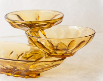 Vintage Amber Glass Serving Set, Anchor Hocking Libbey Style, Three Piece Instant Collection