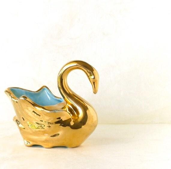 Vintage Golden Swan Planter