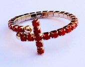 Wrap Around Coral Red Cross Ring
