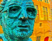 Orange and Blue Face Statue Mayor Frank van Acker of Bruges, Belgium Photo Print 12x18 - ChristeMiller