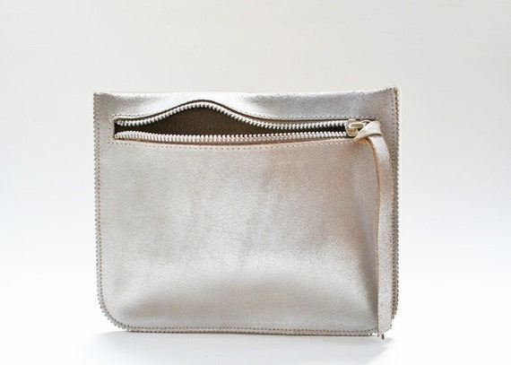 Silver Leather Pouch, Leather Wallet, Small Leather Clutch