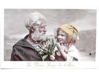 Antique French Postcard Nautical Rare Collectible. Old Fisherman and Little Boy. Le vieux loup de mer