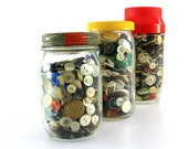 Three Jars of Vintage Buttons