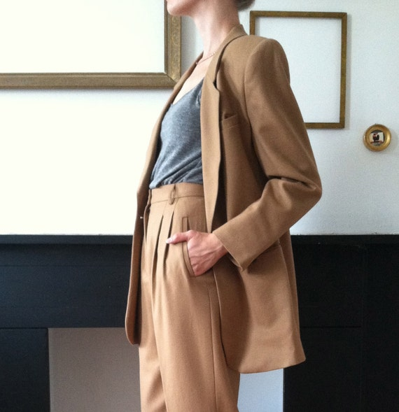 Oversized Wool Blazer Camel Womens Vintage Pant Suit 1 of 2 24 HOUR RESERVE for ZOYA