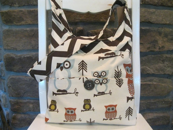 Handmade Fabric Bags Purses - Shoulder Bag - Owl and Chevron Pattern Fabric - Brown and Ivory