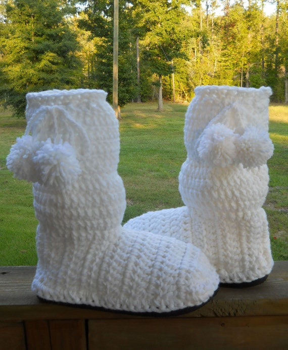 Women's Crocheted Boots Winter White Slouch Boots Indoor/Outdoor