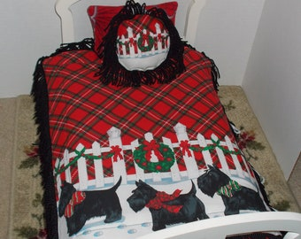 Christmas Scottie Themed 18 in Doll Bedding