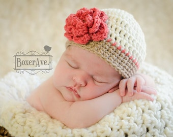 Girl Crochet Hat, Flower Hat, Baby Hat, Toddler Hat, Fall Hat