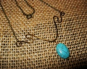 Necklace - Hammered Natural Brass with Turquoise colored Oval Bead