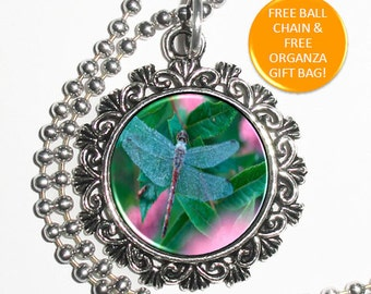 Blue Dragonfly on Leaves and Pink Flowers Art Photo Resin Pendant