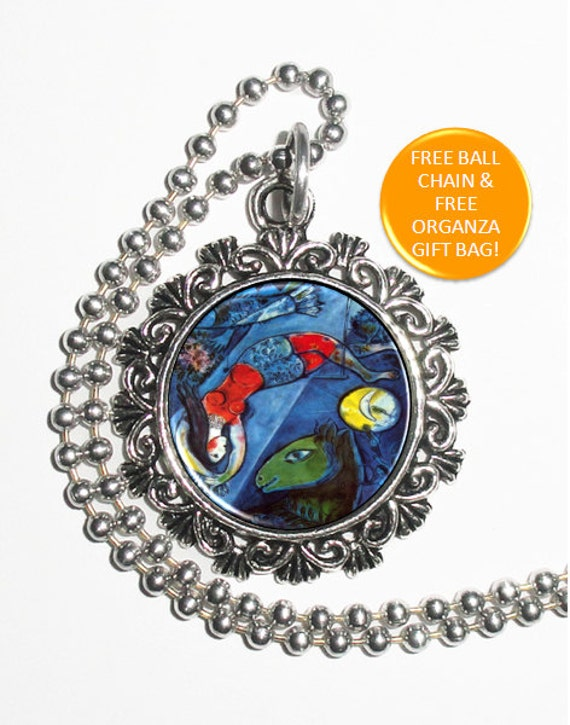 Cirque Art Pendant, Lady with Animals, Flowers, Music, Sun and Moon, Resin Pendant, Marc Chagall Art, Photo Pendant Charm
