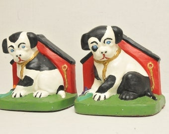 Vintage Handpainted Dog Doorstops Bookends 1970s signed