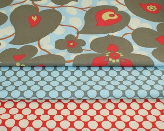Half Yard Bundle of Amy Butler Bundle - Morning Glory and Full Moon Dots in Slate and Cherry