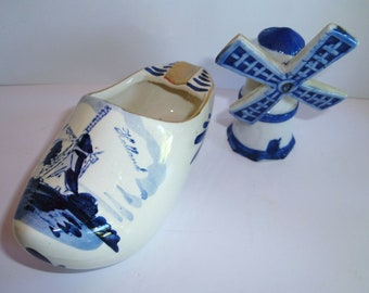 Vintage Delft Dutch Shoe Porcelain Ashtray - Windmill Figurine -  Hand Painted  - Blue and White - Home Decor - Collectibles - Holland