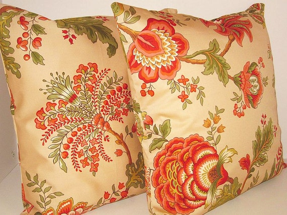 SALE 15% OFF Jaclyn Smith Home Trend Pillow Covers Jacobean Floral Tan Spice Designer Modern Contemporary  Chair Couch