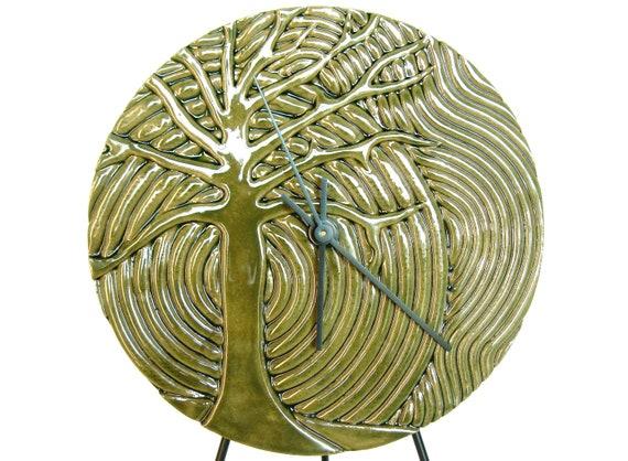 Ceramic Tree Art Wall Clock, modern stoneware pottery wall hanging housewares home decor in dark green