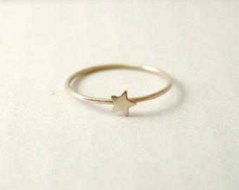 Tiny star ring - raw brass - whimsical dainty jewelry