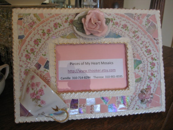Girly Girl -Vintage China Mosaic Pink Floral Picture Frame- Broken China Mosaics - Baby Shower- Mosaic Picture Frame