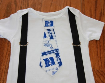 Duke Blue Devils boys Suspenders and Tie onesie or shirt - add sports leg warmers