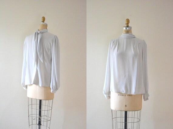 70s ascot bow blouse / 1970s vintage blouse / ascot shirt