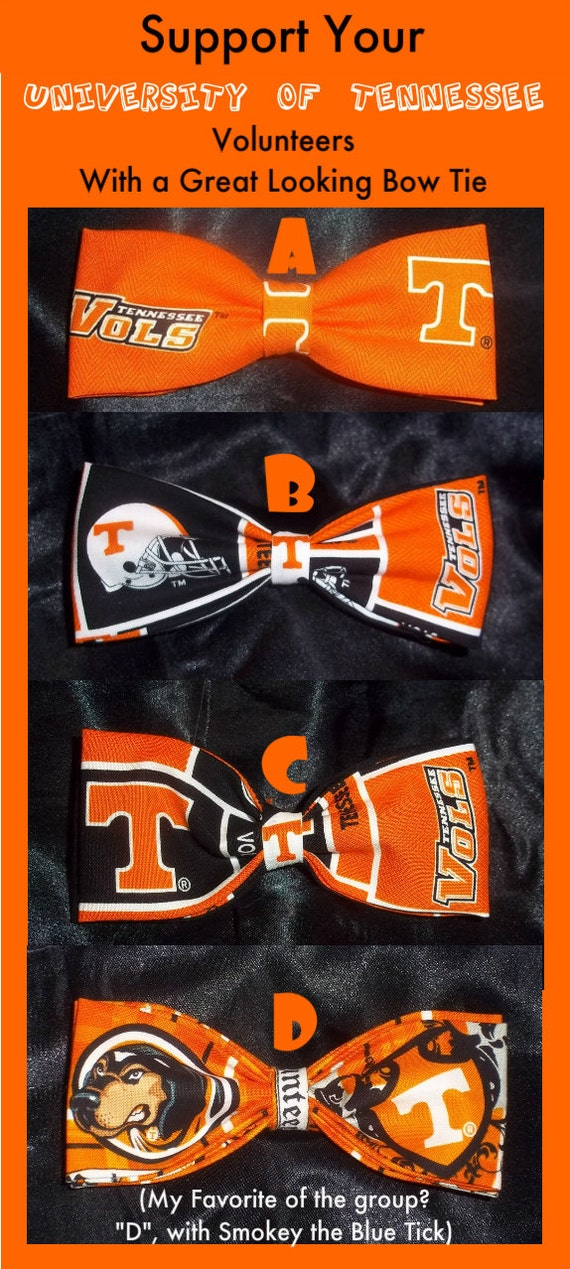 BowTies Made From University of Tennessee Fabric - Show That You Support Your Vols With A Great Looking Bow Tie - SHIPPING ALWAYS ONLY 1.99