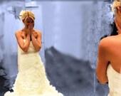 """Wedding Dress Sash, Bridal Belt. Rhinestones, Beaded, WHITE or IVORY Satin Ribbon. Wedding, Prom Dress Bling """"Courtney""""  Small"""