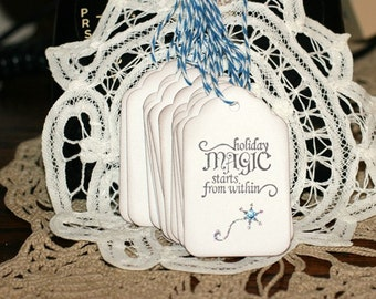 Christmas Gift Tags - Set of 12 Holiday gift tags with twine - Holiday Magic