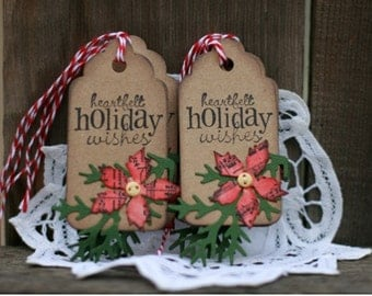 Christmas Gift Tags - Set of 6 Holiday gift tags with twine - poinsettia