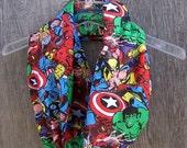 Lightweight COMIC SCARF Marvel Avengers fabric infinity scarf eternity loop cowl mobius unisex accessories superhero comic con nerd gift