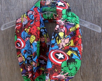 Lightweight COMIC SCARF Marvel Avengers fabric infinity scarf eternity loop cowl mobius unisex accessories superhero comic con nerd gift