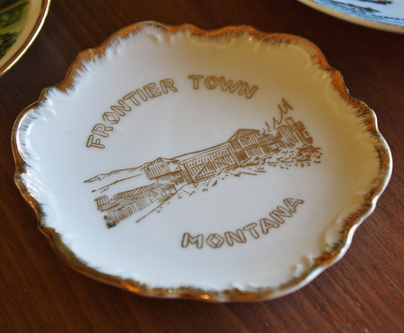 Montana Souvenir Small Dish From Frontier Town Fort - Pin Dish or Jewelry Tray for Nightstand, Countertop or Vanity
