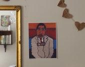 "An 8.5 x 11"" Fine Art Print of an Original Oil Pastel Portrait of Dr. King's mugshot"