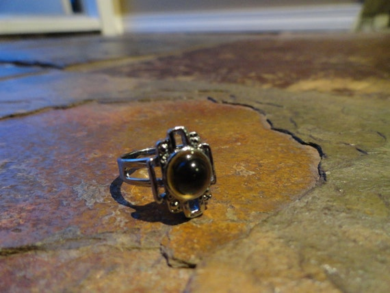 Silver ring with Brown Stone Jewel Adjustable size 6-7