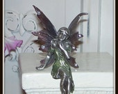 "Book & Shelf   ""Sitting on the edge""    VANITY WOODLAND FAERIE  Fairy  - Pewter  -"