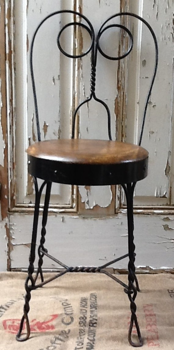Antique iron wood ice cream parlor chair