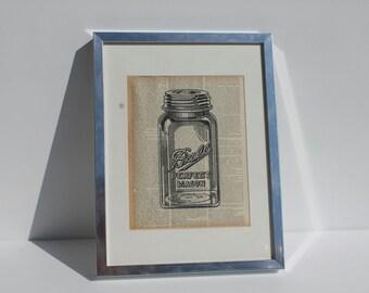 Ball Mason Jar Print on Vintage Encyclopedia Paper