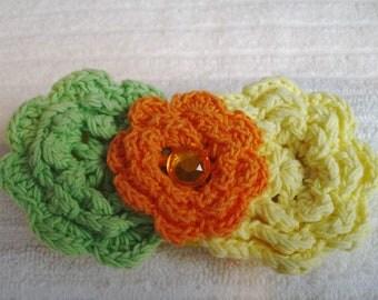 Crochet Flower Hair Clip -Melon Green and Yellow Hair Clip - Handmade Flowers - Boutique Hair Clip