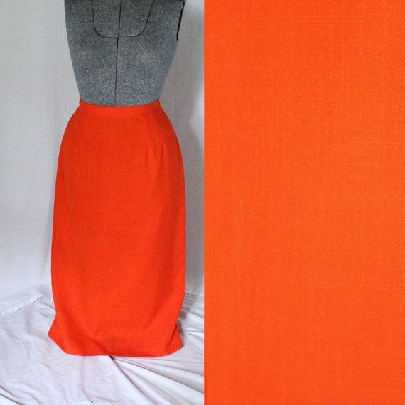 Orange Pencil Skirt - Size Large