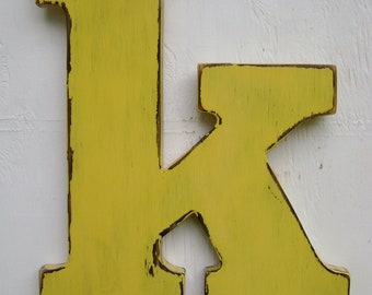 "Nursey wood letters rustic shabby chic decor-lowercase ""k"" initials"