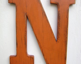 """Wooden rustic letter """"N"""" distressed name letters Home decor wall hanging, wall decor, cabin,cottage,rustic decor"""