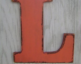 Kids room wall hanging primitive wood letter signs-shelf-door-wall decoration-handpainted- Coral blush