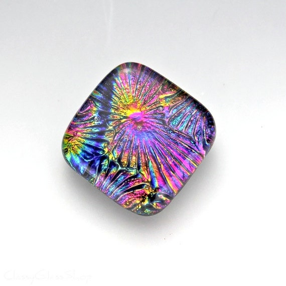 Multicolored Fused Dichroic Pendant Cabochon in Gold, Pink, Purple, and Blue