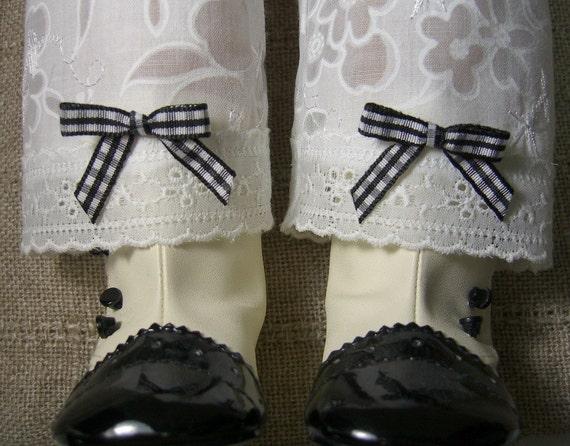 WHITE REGENCY PANTALETTES You pick the color of bows for Caroline or any American Girl Dolls like Cecile Elizabeth Kirsten