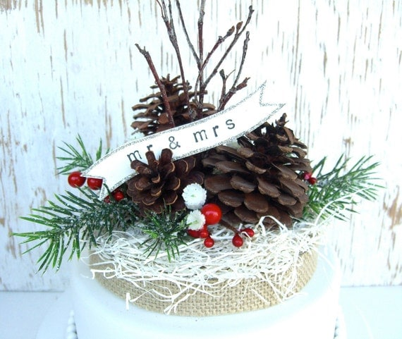 Pinecone Cake Topper Country Christmas Wedding Woodland